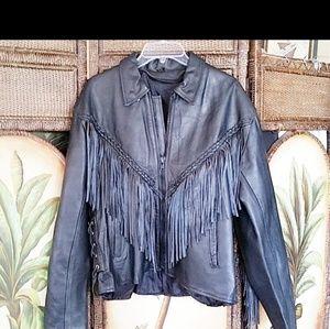 Leather coat with Fringe